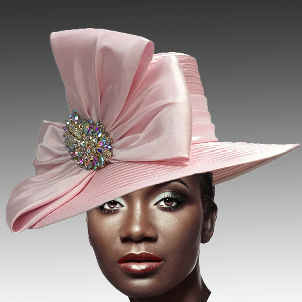1813 St John-PI ( Classic Hat with Shantung Double Bow and Jewel Paisley Brooch )