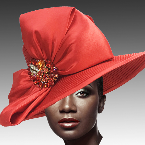 1813 St John-RE ( Classic Hat with Shantung Double Bow and Jewel Paisley Brooch )