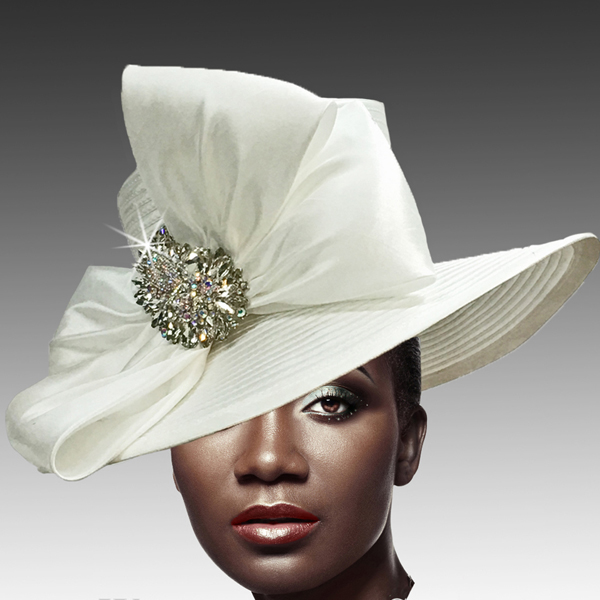 1813 St John-WH ( Classic Hat with Shantung Double Bow and Jewel Paisley Brooch )