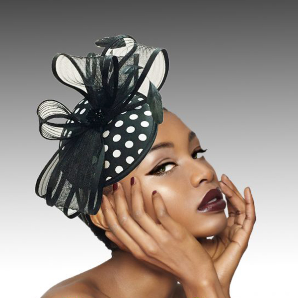 2418 Kiki-BL ( Sinimay And Horsehair Fascinator On A Headband With A Feather Bloom )