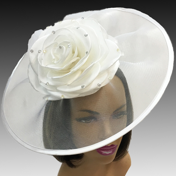 2001 Trevi-WH( Fascinator Inspired By A Fanciful Cascade of Water With Dew Spinkled Rose )
