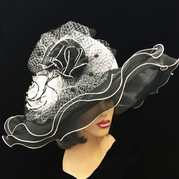 2200 Penelope-BW ( Diaphanous Organza Brim Hat With Garden Blooms )