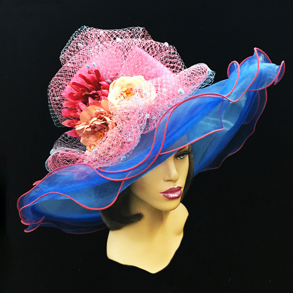 2200 Penelope-FR ( Diaphanous Organza Brim Hat With Garden Blooms )