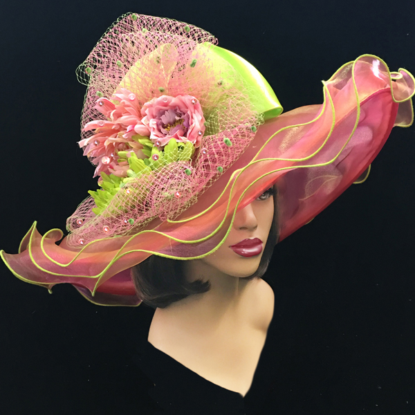 2200 Penelope-FU ( Diaphanous Organza Brim Hat With Garden Blooms )