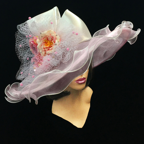 2200 Penelope-PI ( Diaphanous Organza Brim Hat With Garden Blooms )