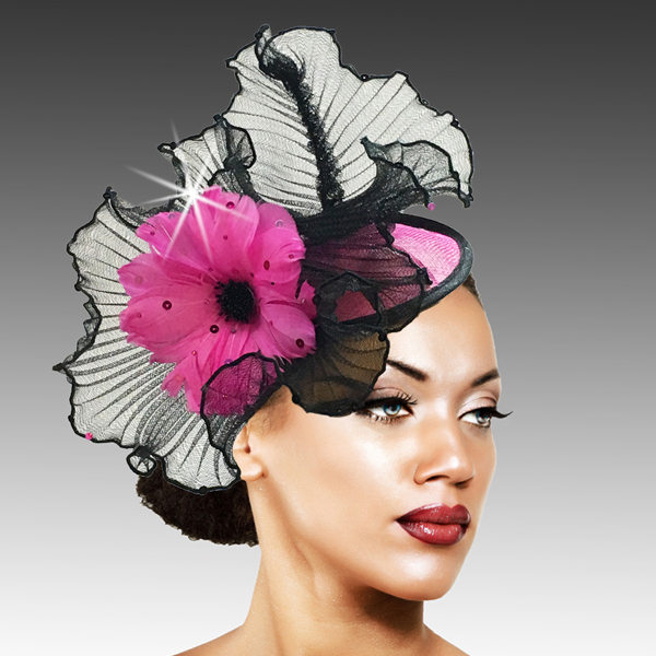 2419 Raffles-FU ( Sinimay And Horsehair Fascinator On A Headband With A Feather Bloom )