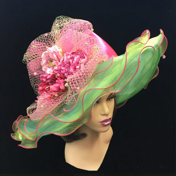 2200 Penelope-LI ( Diaphanous Organza Brim Hat With Garden Blooms )