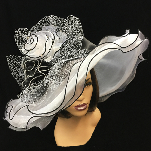 2200 Penelope-WB ( Diaphanous Organza Brim Hat With Garden Blooms )