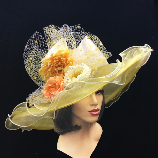 2200 Penelope-YE ( Diaphanous Organza Brim Hat With Garden Blooms )