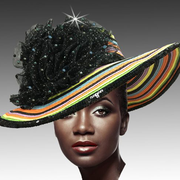 2279 Tutti Frutti-MU ( Diaphanous Organza Brim Hat With Garden Blooms )