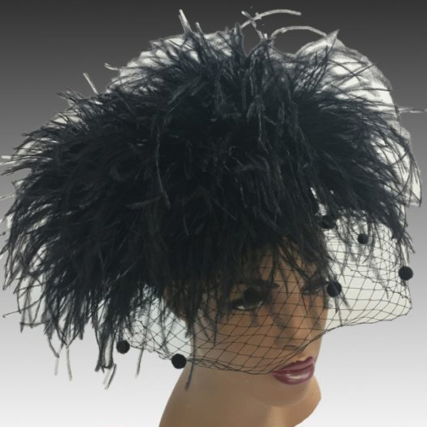 2304 Irma-BL ( Ostrich Pompom Pillbox Hat With Coquettish Face Veil )