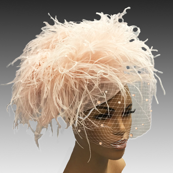 2304 Irma-CO ( Ostrich Pompom Pillbox Hat With Coquettish Face Veil )