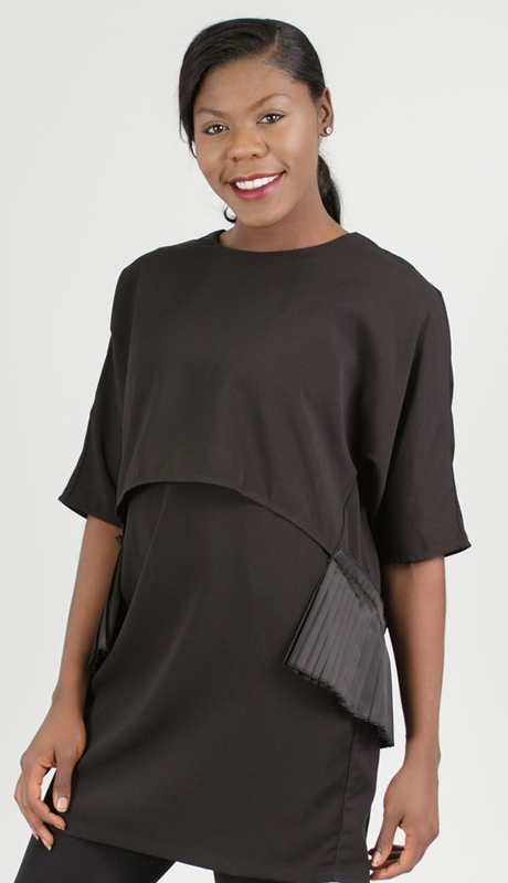 Why Collection T0041-BK ( 1pc Pleated Top )