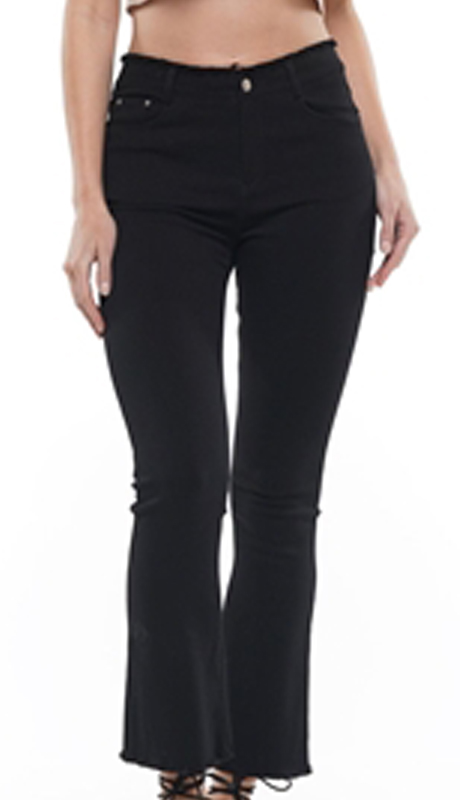 Why Collection P190156-BK ( 1pc Flare Stretch Denim Pant )