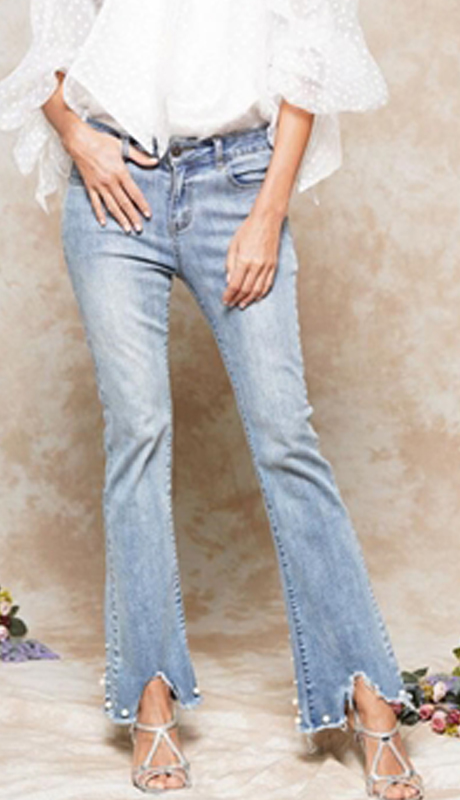 Why Collection P181120-DB ( 1pc Pearl Embellished Denim Pant )
