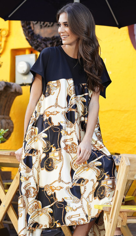 Why Collection D190044-IB ( 1pc Cap Sleeve Print Dress )