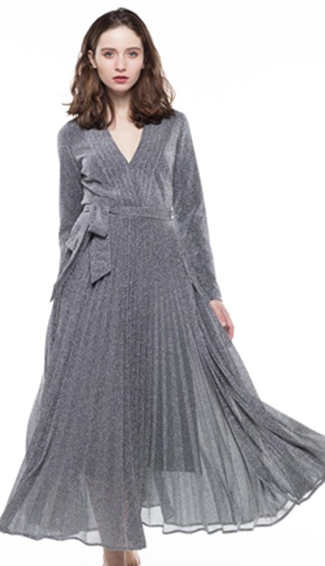 Why Collection D180606 ( 1pc Pleated Metallic Dress )
