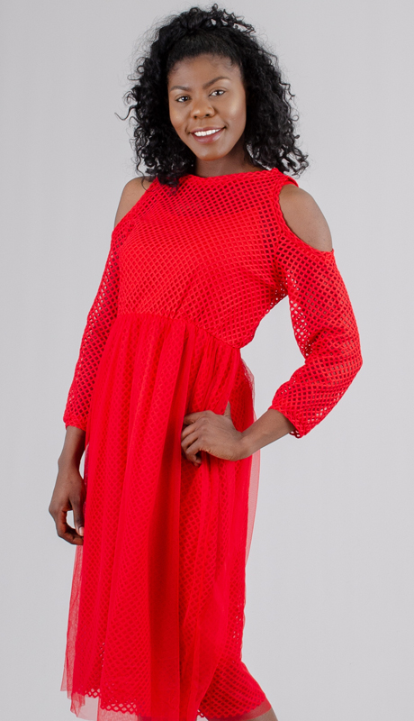 Why Collection D180180-RE ( 1pc Mesh and Tulle Cold Shoulder Dress )