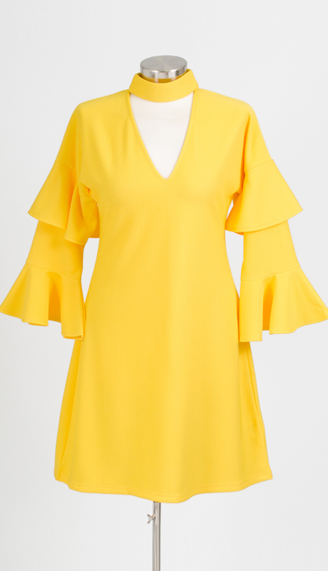 Why Collection D180040-YE ( 1pc Bell Sleeve Dress )