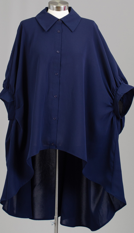 Why Collection T190034-NA ( 1pc High Low Button Down Oversized Top )