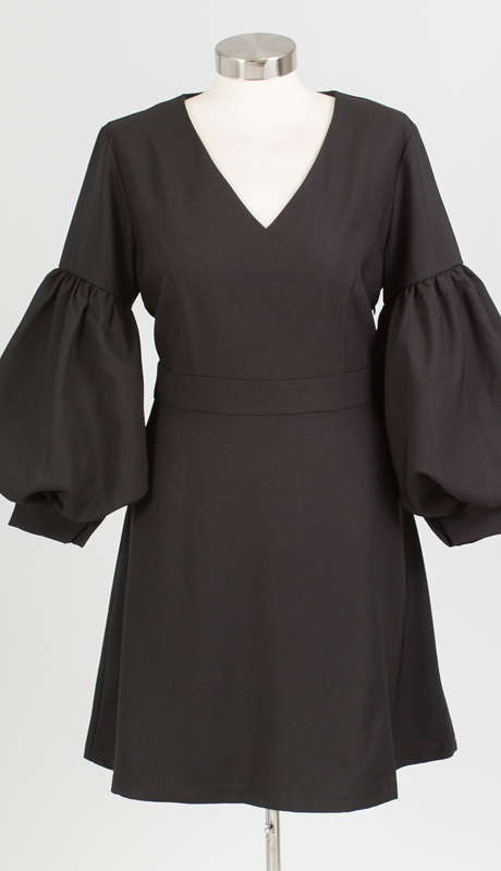 Why Collection D170068-BK ( 1pc V-neck Puff Sleeve Dress )