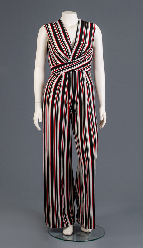 Why Collection B190071-MU ( 1pc Sleeveless Back Zip Striped Jumpsuit )
