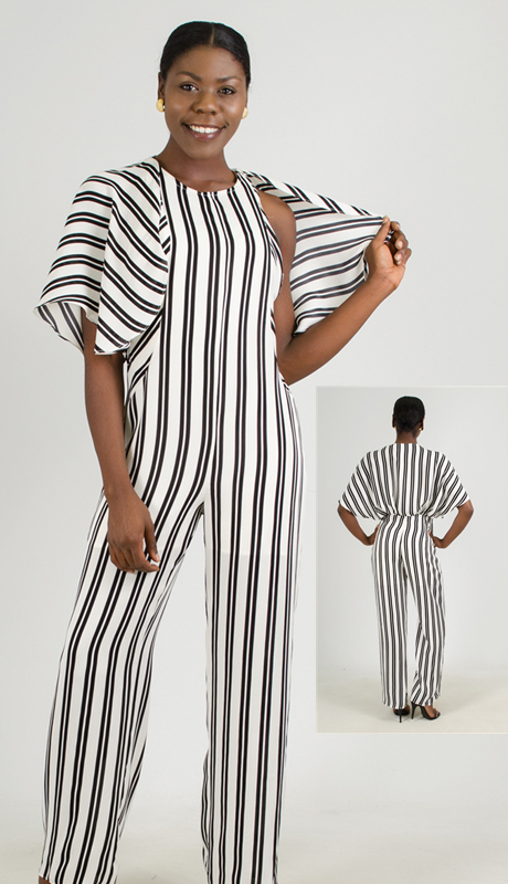 Why Collection B170462-BW ( 1pc Stripe Jumpsuit )