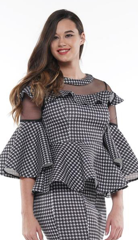 Why Collection T190024-BW ( 2pc Houndstooth Ruffle Sleeve Peplum Top )