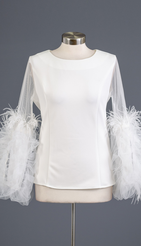 Why Collection T180592-WH ( 1pc Feather Trim Tulle Sleeve Top )