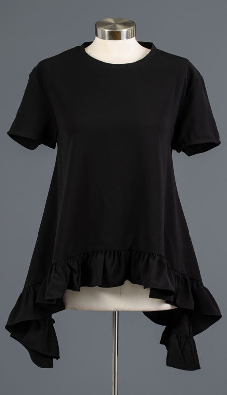 Why Collection T180879-BK ( 1pc Short Sleeve Ruffle Trim Top )