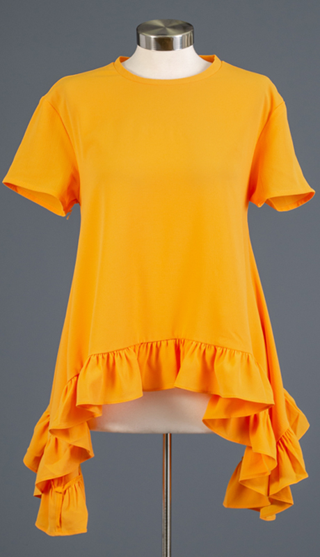 Why Collection T180879-MU ( 1pc Short Sleeve Ruffle Trim Top )