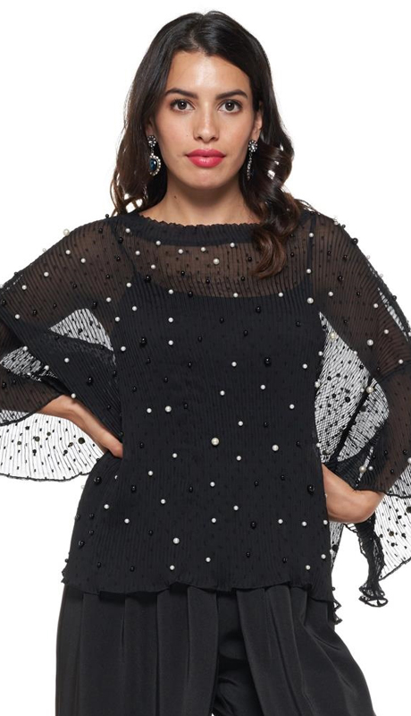 Why Collection T180853-BK ( 1pc Pearl Embellished Top )