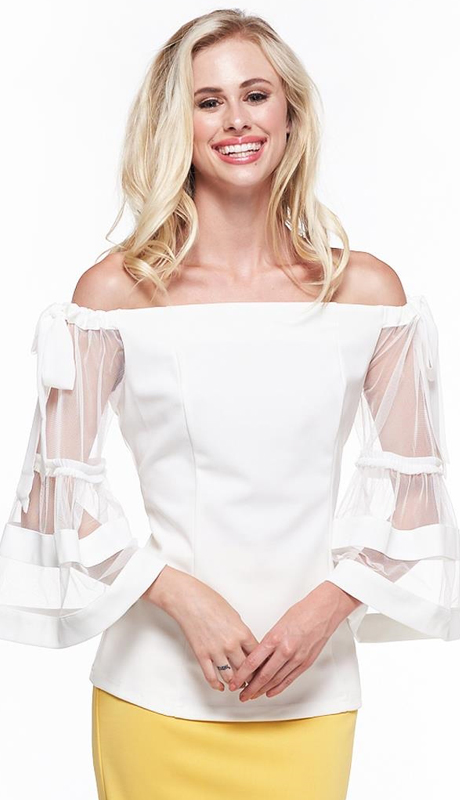 Why Collection T180829-WH ( 1pc Bow Accent Sheer Sleeve Top )