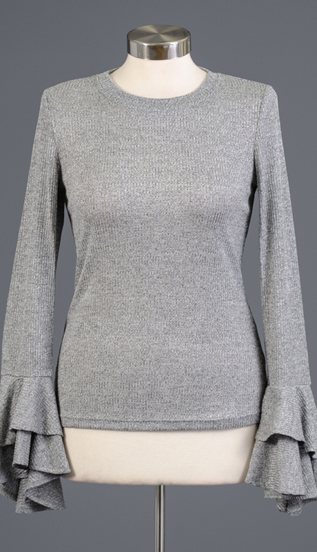 Why Collection T180598-SI ( 1pc Long Sleeve Tiered Cuff Knit Top )