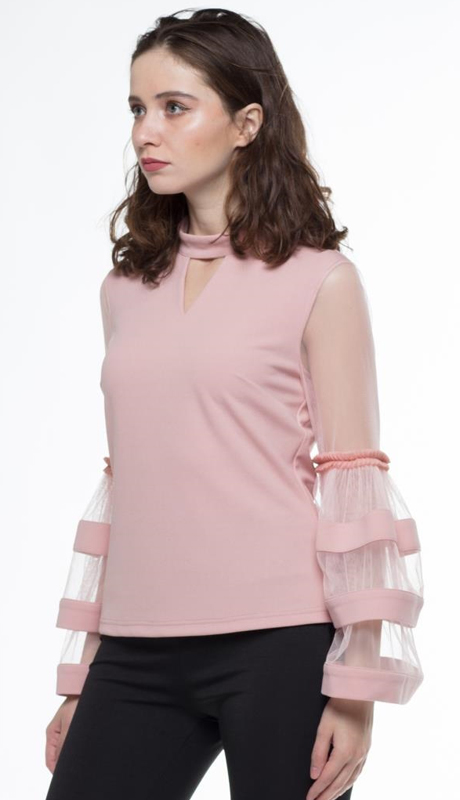 Why Collection T180597 ( 1pc Sheer Tier Sleeve Top )
