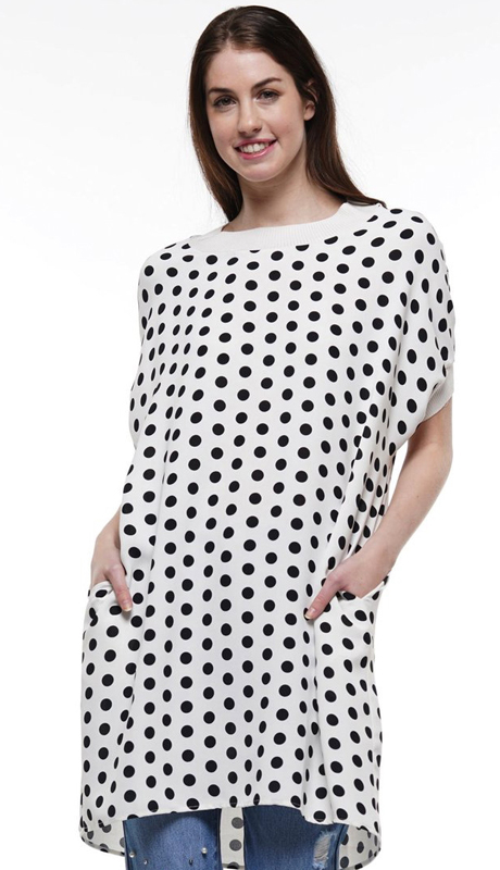 Why Collection T191011-BW ( 1pc Short Sleeve High Low Polka Dot Top )