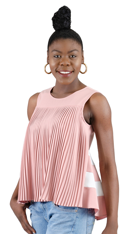 Why Collection T180098-MO ( 1pc Pleated Front Stripe Back Top )