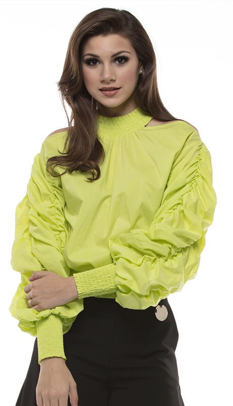 Why Collection T170468-LI ( 1pc Cold Shoulder Ruched Sleeve Top )