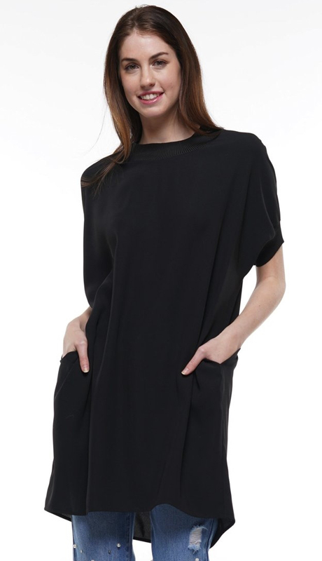Why Collection T191010-BK ( 1pc Short Sleeve Pocket High Low Tunic Top )