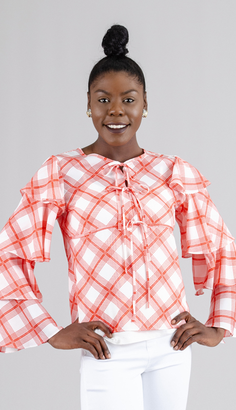 Why Collection T170465-RW ( 1pc Tiered Sleeve Gingham Ruffle Top )