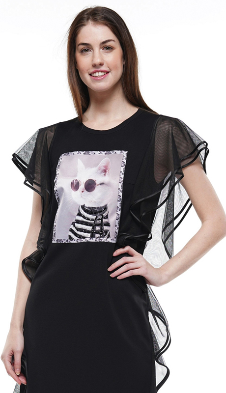 Why Collection T190146-BK ( 1pc Sheer Ruffle Sleeve Cat Print Patch Top )