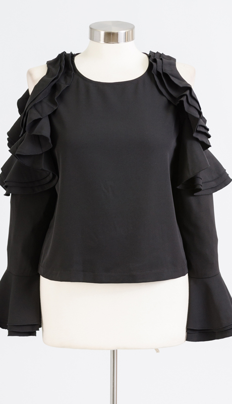 Why Collection T170381-BK ( 1pc Cold Shoulder Ruffle Sleeve Top )