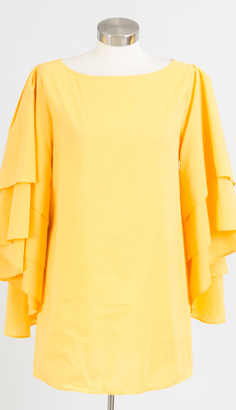 Why Collection T170242-YE ( 1pc Tiered Sleeve Top )