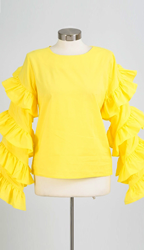 Why Collection T170278 ( 1pc Ruffled Sleeve Top )