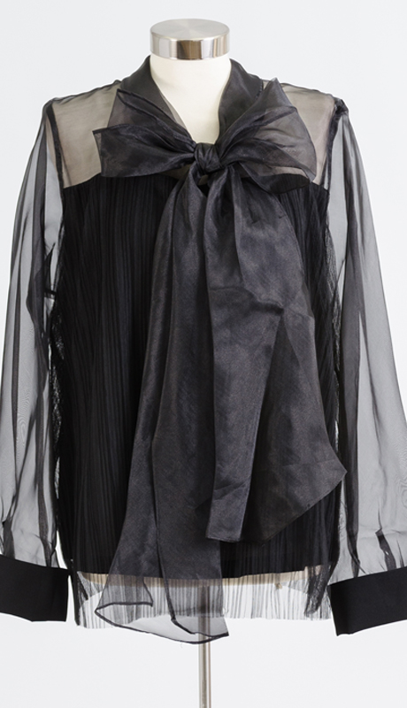 Why Collection T170117-BK ( 1pc Pleated Sheer Sleeve Bow Top )