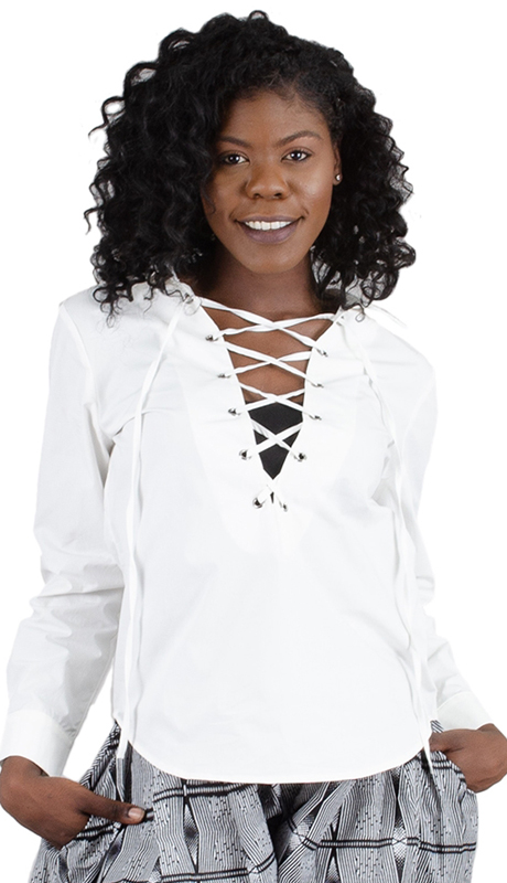 Why Collection T170080 ( 1pc Lace Up Long Sleeve Top )