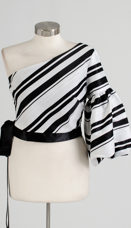 Why Collection T170061-IB ( 1pc Single Sleeve Striped Crop Top )