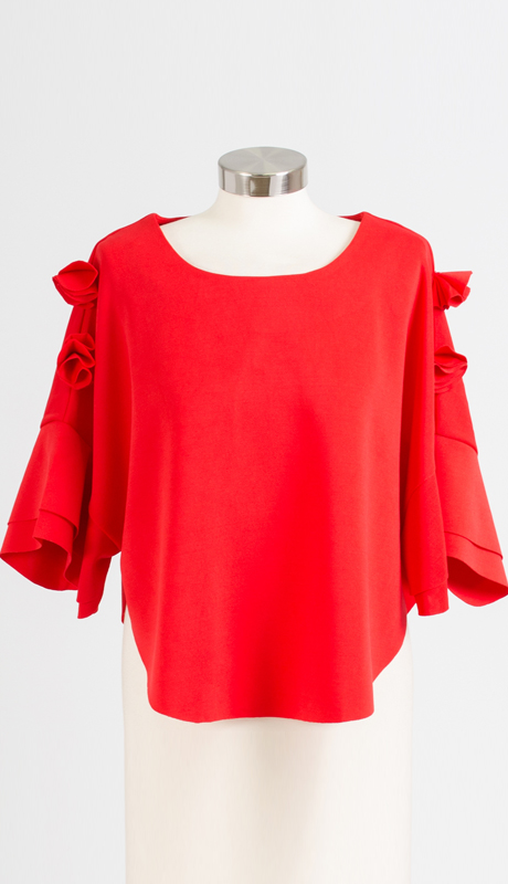 Why Collection T170048-RE ( 1pc Rose Sleeve Top )