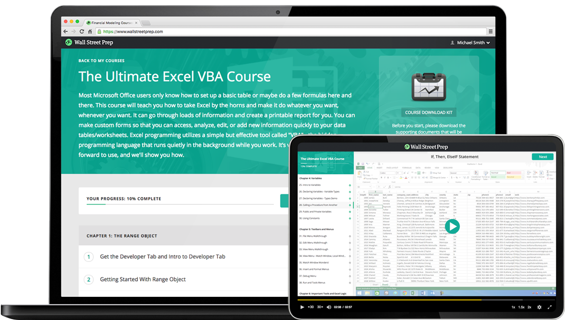 The Ultimate Excel VBA Online Course and VBA Certification - Wall