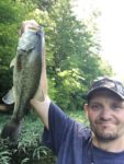Bryan Dunlap of Uneeda, W.Va. bird-dogged this nice largemouth on a grass bed while fishing from a kayak on Upper Mud River Reservoir in Lincoln County.  He says the fish actually towed him around as he tried to land it.
